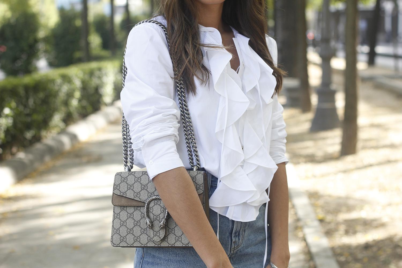 ruffled shirt uterqüe denim shirt sunnies heels gucci bag outfit fashion style14
