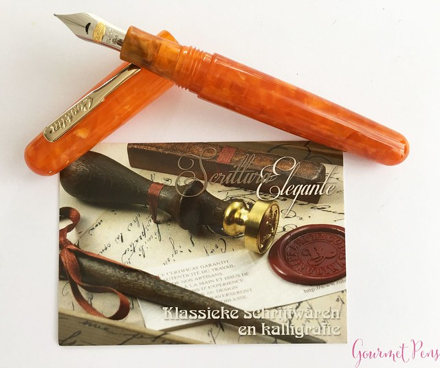 Review Conklin All American Sunburst Orange Fountain Pen 15