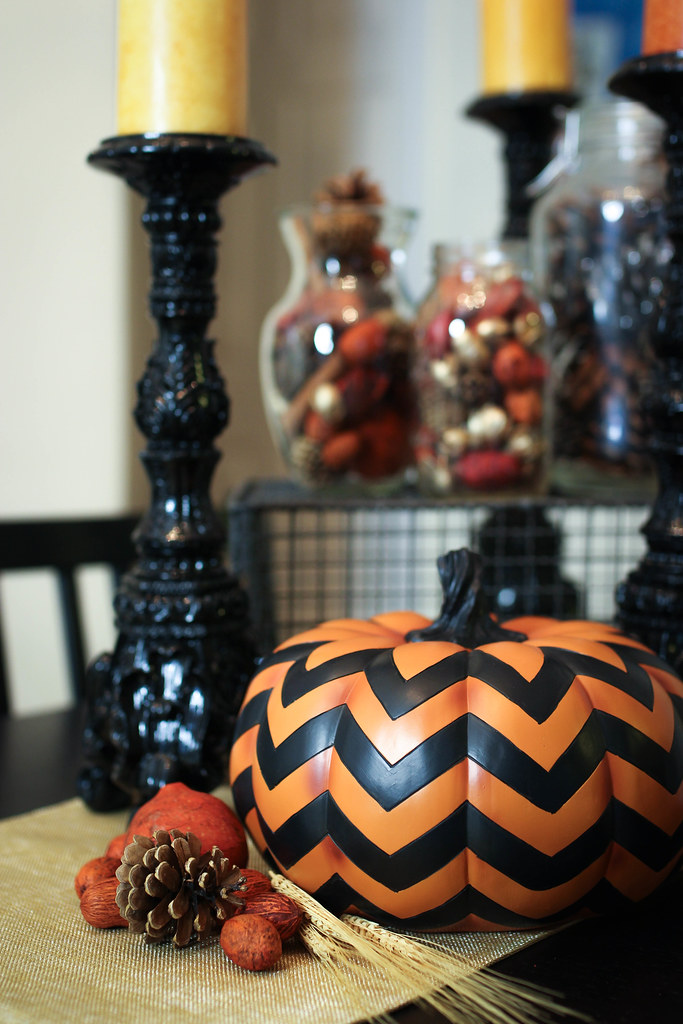Pumpkin Candlesticks Fall Potpourri | Halloween to Thanksgiving Table Decor Ideas