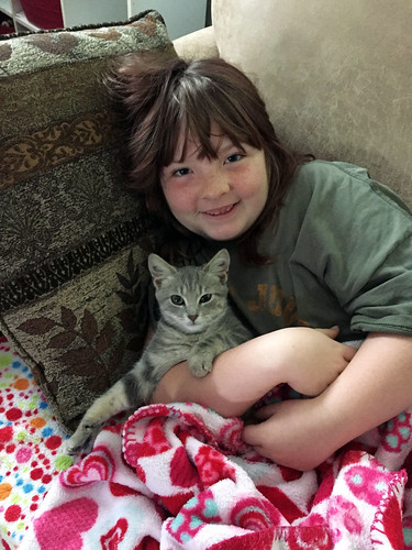 Lucy and cuddly cat Mabel