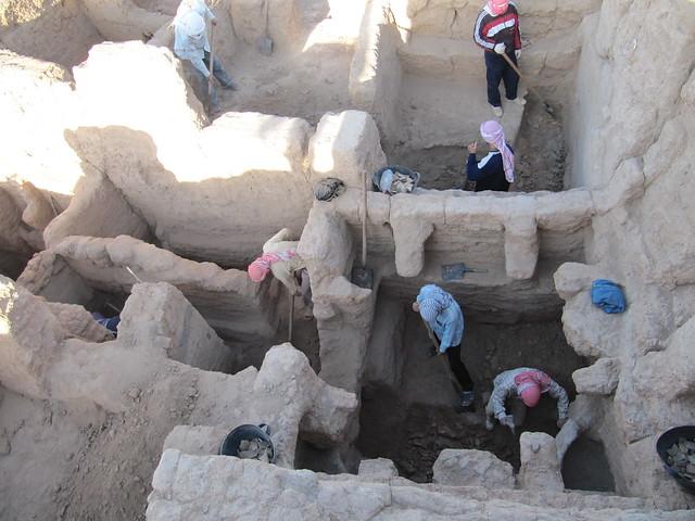 Процесс раскопок на поселении Телль Хазна 1.