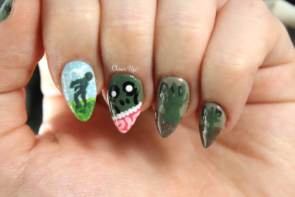 Zombie nail art for Halloween