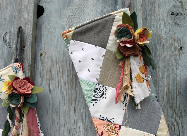 Patchwork Stockings with removable Flower Cluster Ornament