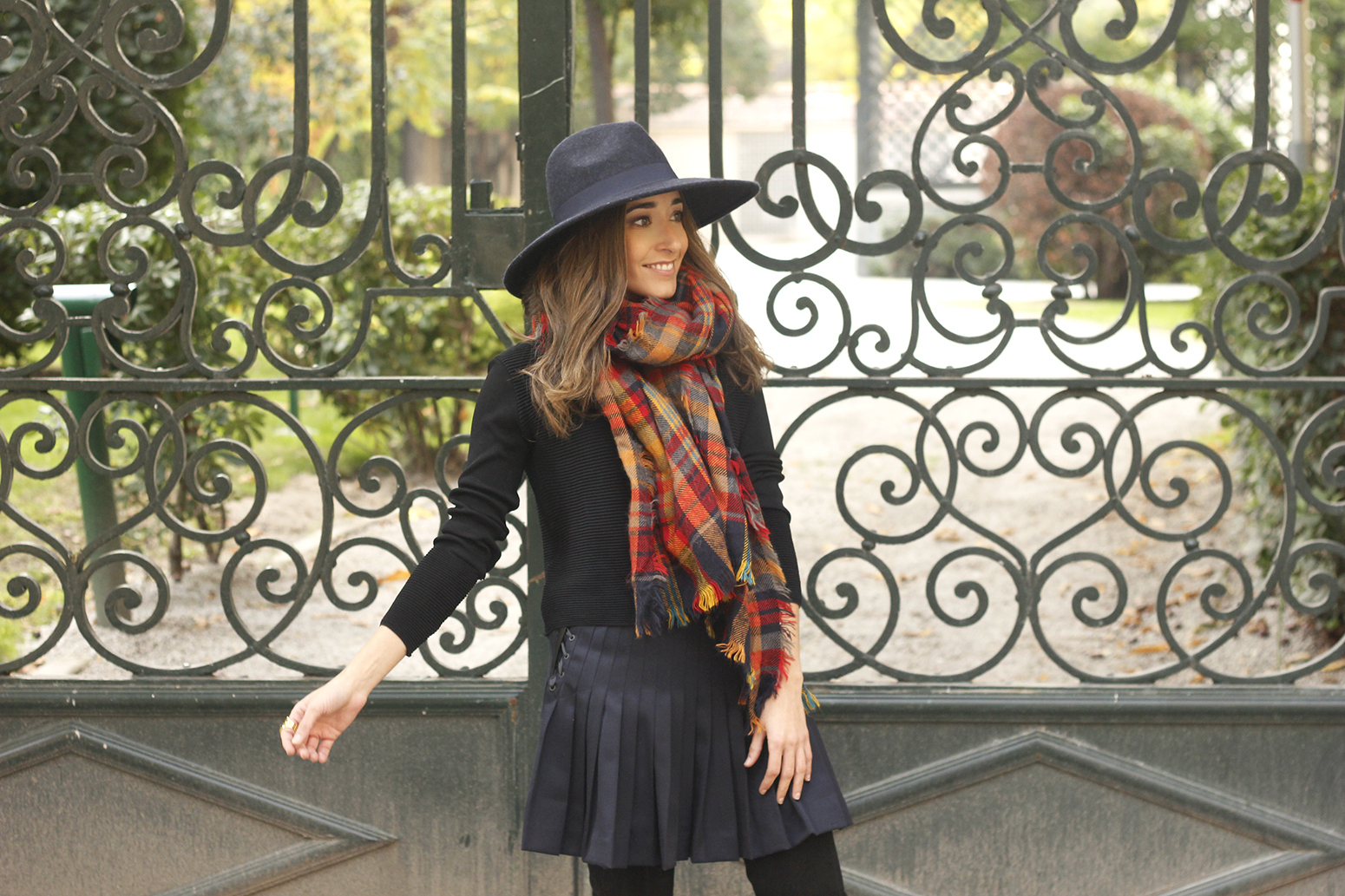 blue pleated skirt with over the knee boots blue hat black jersey outfit style 11
