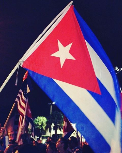 cuban flag at night