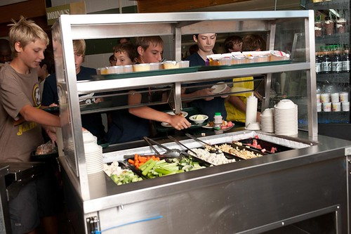 Students eat local food in their school cafeteria