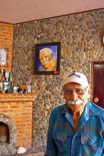 The owner and builder of the 'Stone House' where everything is made of stone, even the pillows (Mascota, a Pueblo Magico in Mexico)