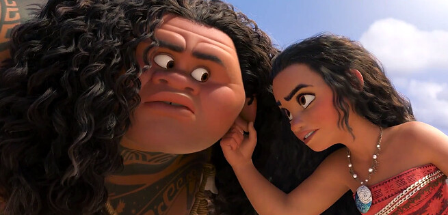 Dwayne Johnson and Auli'i Cravalho learn to work together in MOANA.