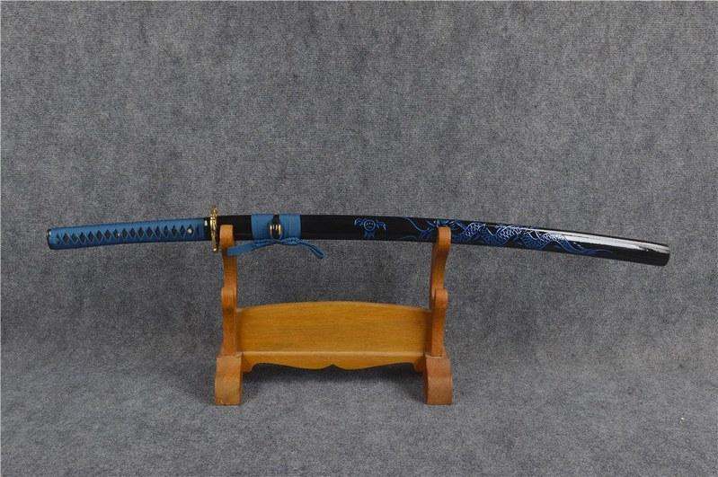 Japanese-samurai-sword-blue-blade-scabbard