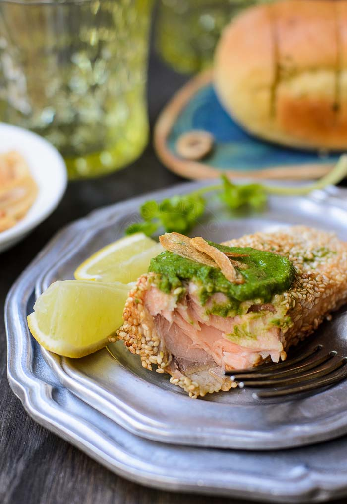 Sesame coated salmon with coriander Relish