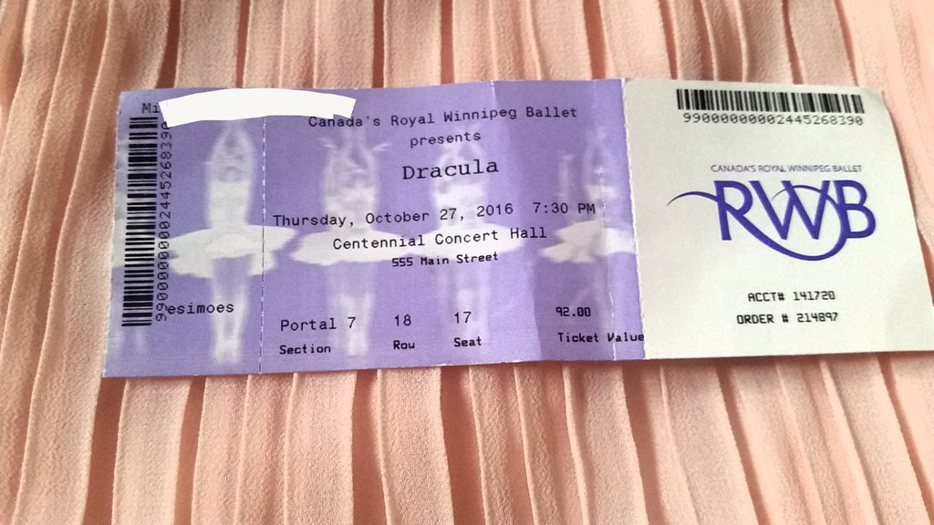 Royal Winnipeg Ballet Dracula Ticket