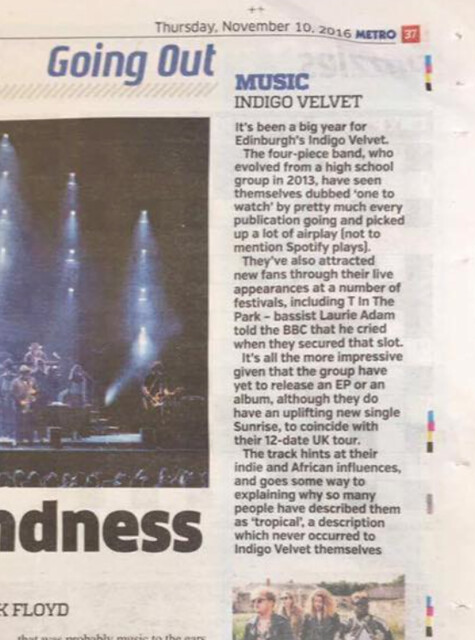 Indigo Velvet featured in The Metro