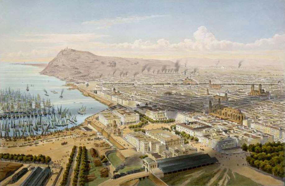 Barcelone avant 1900 : Le port sur l'actuelle marina, la gare de France au premier plan, la parc de la Citadelle à droite et la colline de Montjuic au fond.