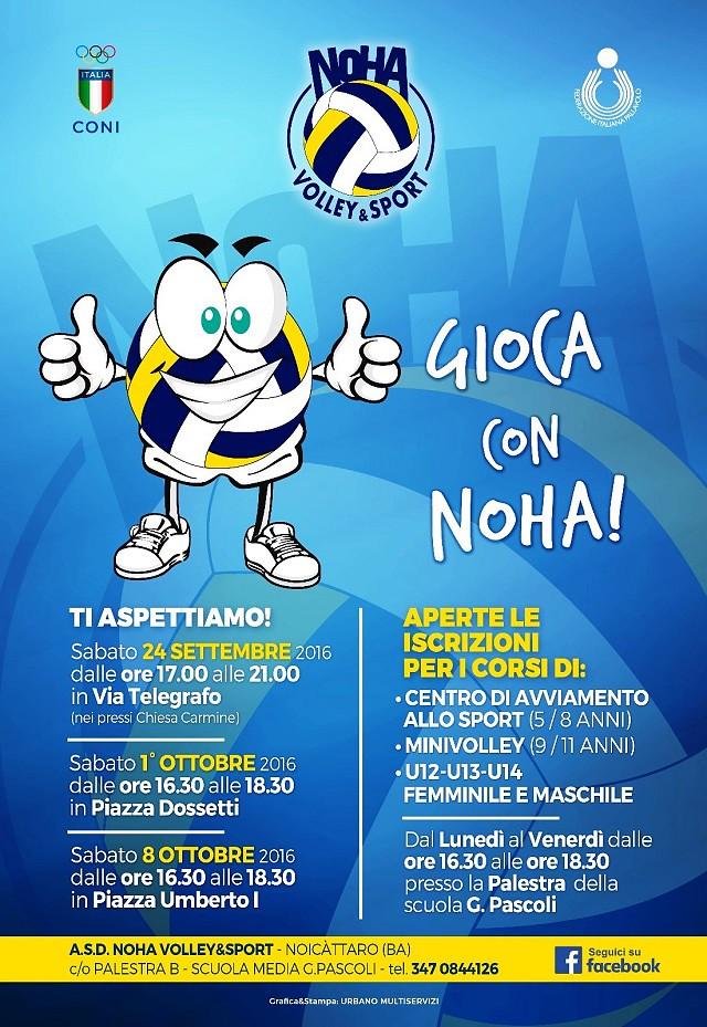 Noicattaro. Locandina Noha Volley intero