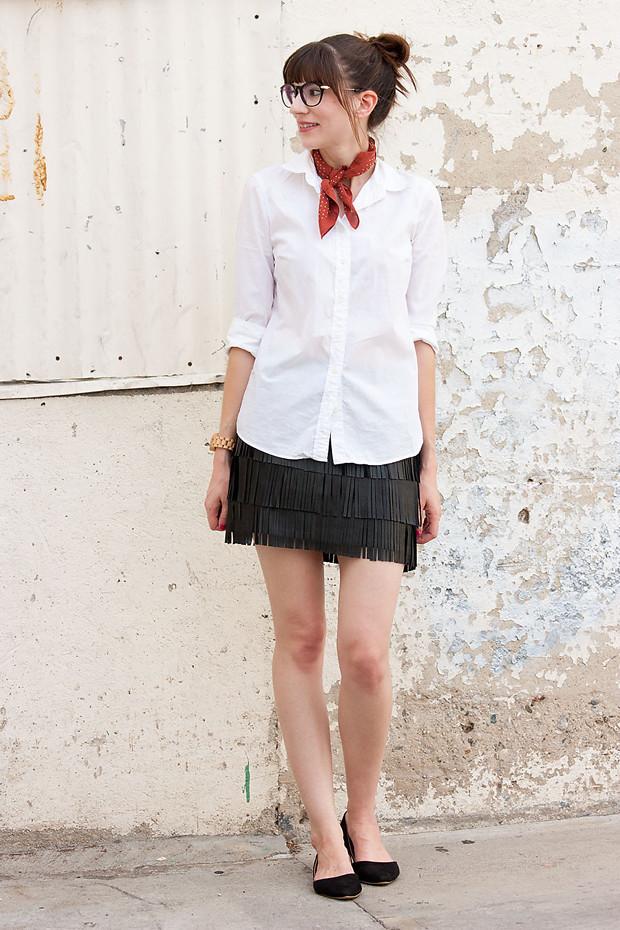 How to Style a Fringe Mini Skirt, White Shirt, J.Crew Bandana