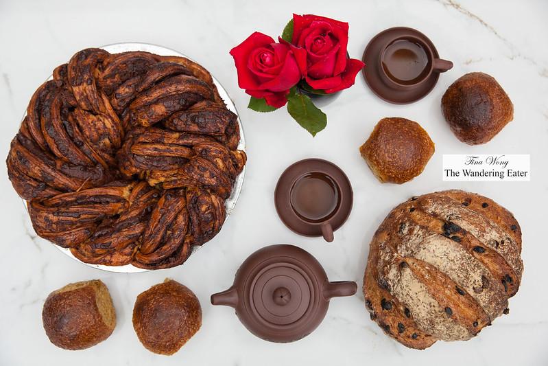 Babka Pie, Pumpkin Rolls Maple Butter Glaze, Rye loaf caraway, citrus and raisins