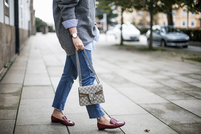 levis 505c with gucci loafers and striped shirt gucci dionysus streetstyle4
