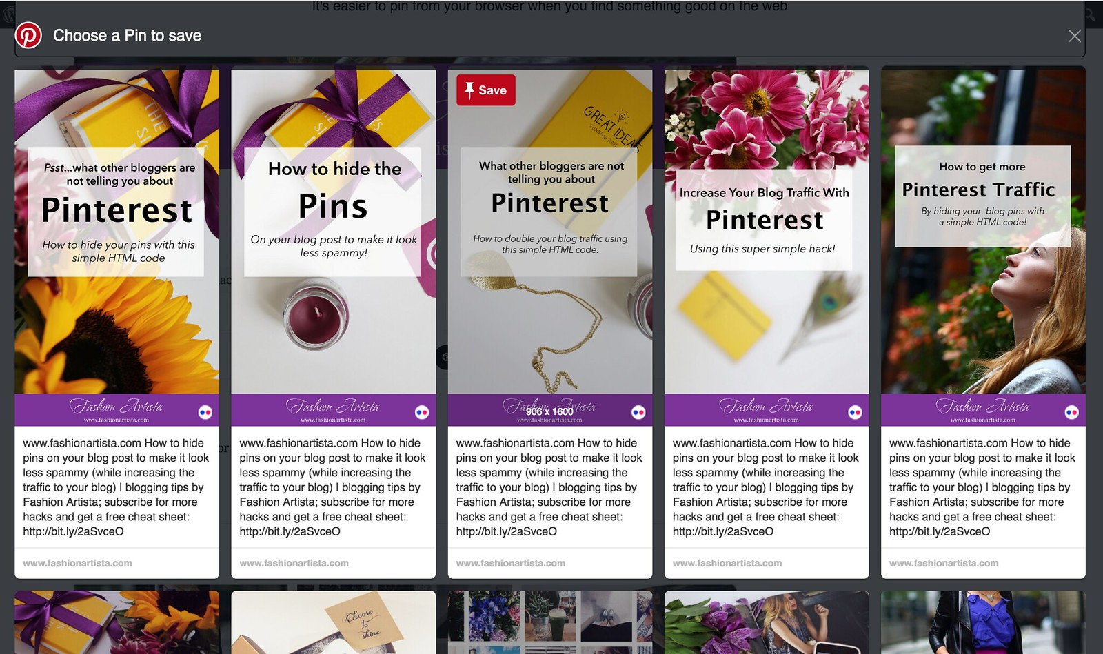 How to hide pins on your blog post by www.fashionartista.com