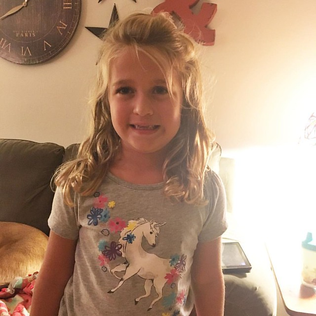 Mom fail -I forgot it was picture day at Zooey's school! And the girl normally wears a dress 90% of the time. But today she rocked a unicorn shirt. So when she is a senior in HS and they compare her senior picture to her kindergarten picture we will fore