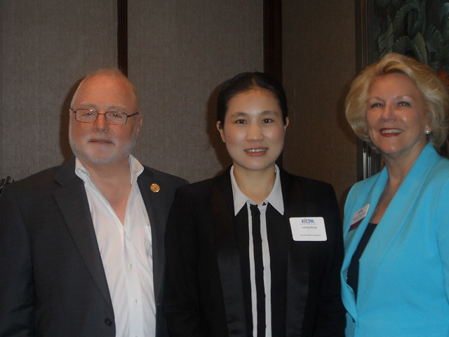 Ira Herschbein, FICPA Education Foundation Trustee, Yafang Wang, FAU student and scholarship recipient, Barbara Strasdas, FICPA Palm Beach Chapter Chair