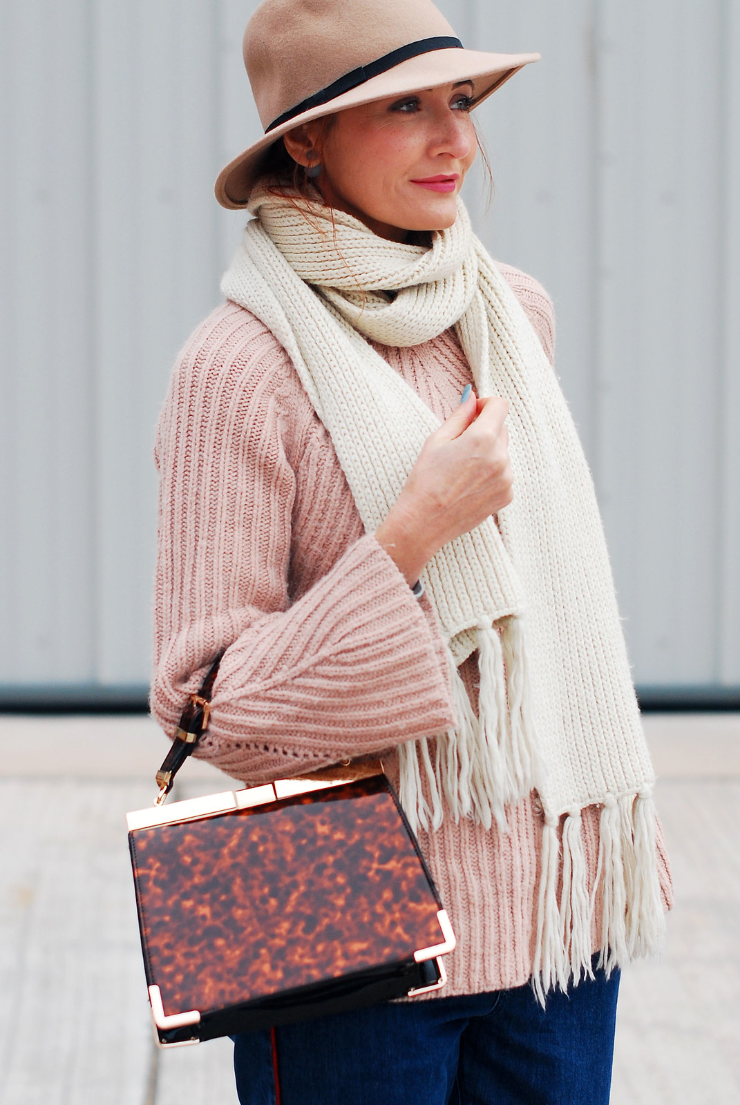 Casual autumn/fall outfit - Blush pink cable knit sweater, peg leg jeans, camel fedora, Gucci-inspired pink fringed block heel loafers, tortoiseshell handbag | Not Dressed As Lamb, over 40 style blog