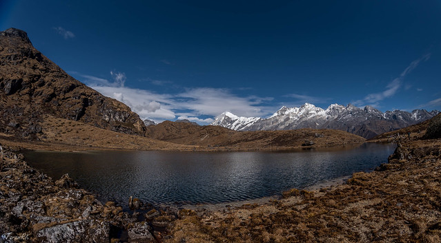 "Ultra wide angle shot of Lakshmi Pokhri. This pond is 1' 15"" hike north from Dzongri Top."