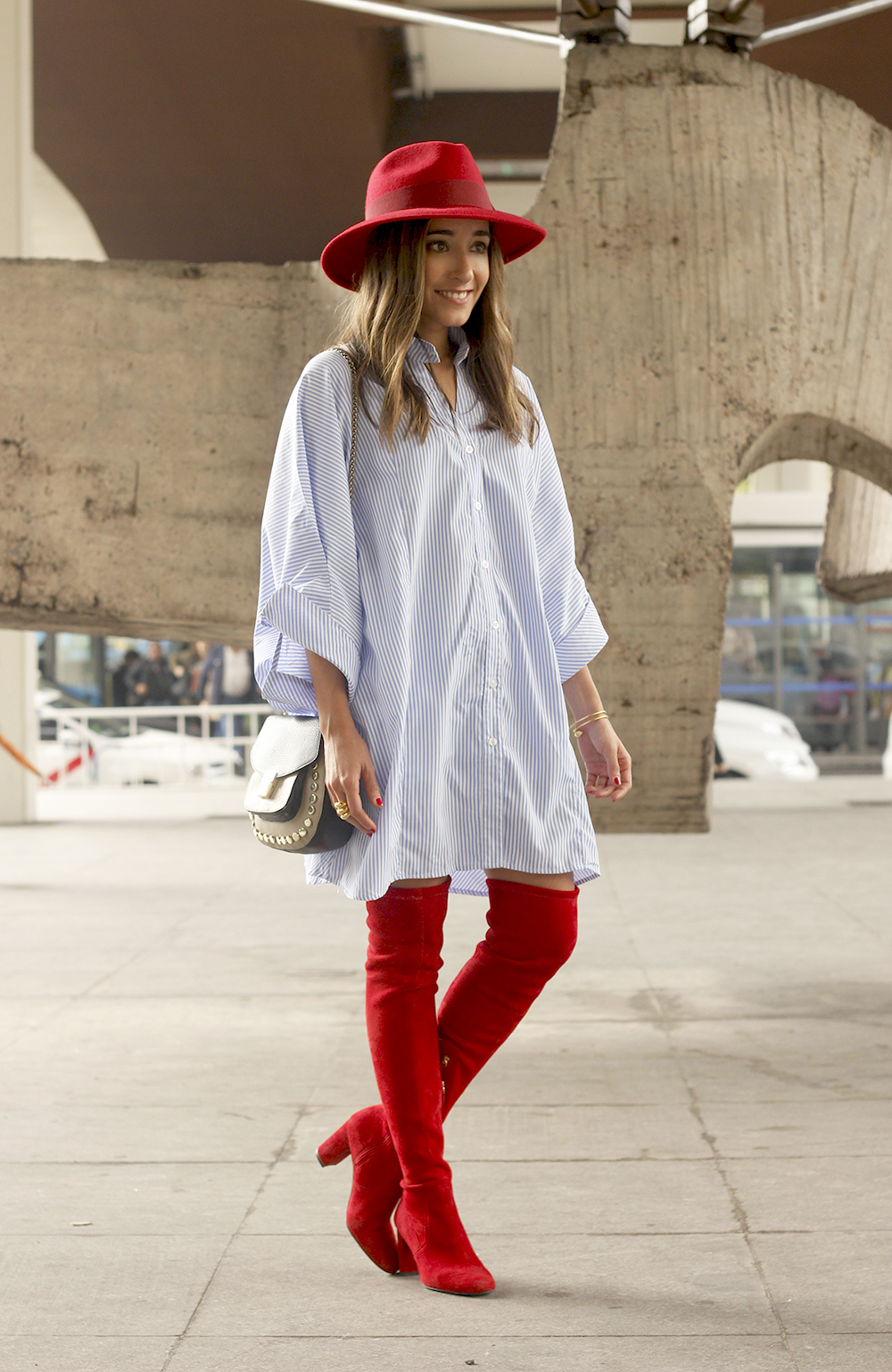 striped dress red over the knee boots red hat accessories fashion outfit style autumn10