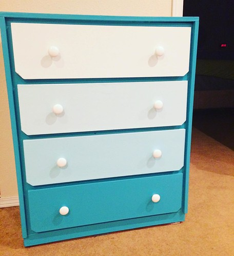 Phase 3 of ombré-fying the free dresser: complete! We only spent money on the drawer pulls. Total cost: less than 20$.