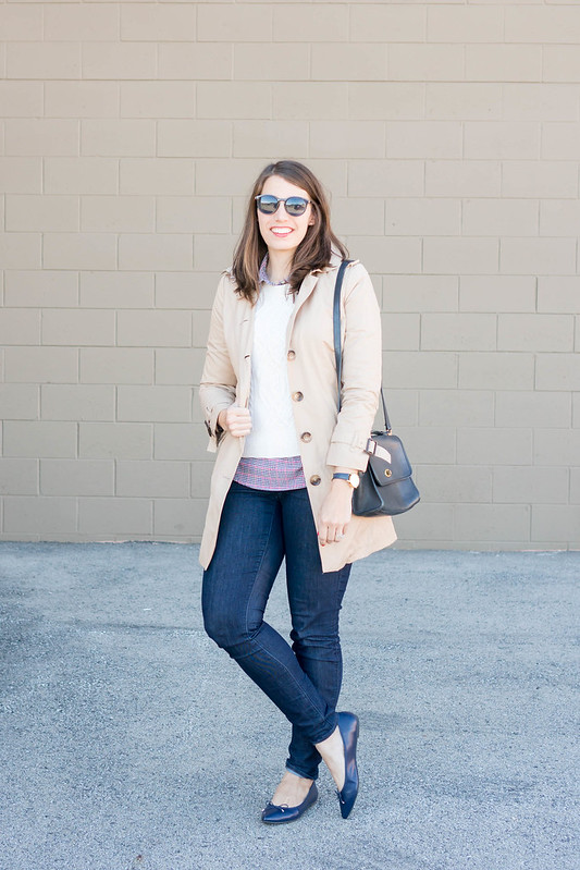 trench coat + cream cable sweater + Loft jeans + Target navy ballet flats | Style On Target blog