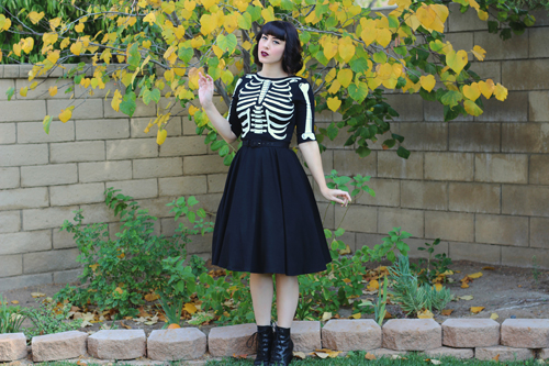 Unique Vintage 1950s Style Black Three-Quarter Sleeve Graves Swing Dress