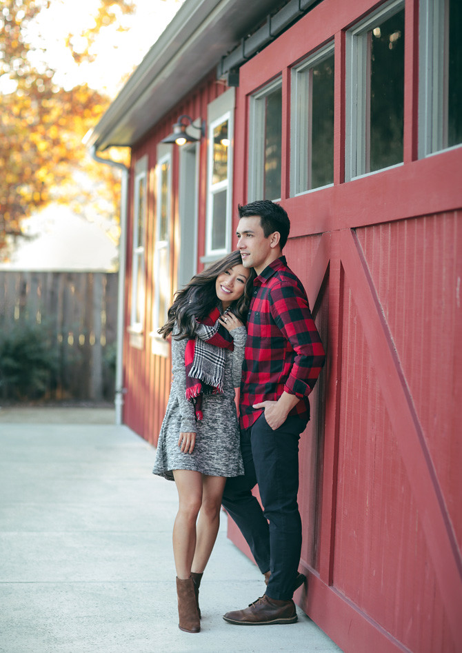 couples outfit buffalo check holiday winter photos