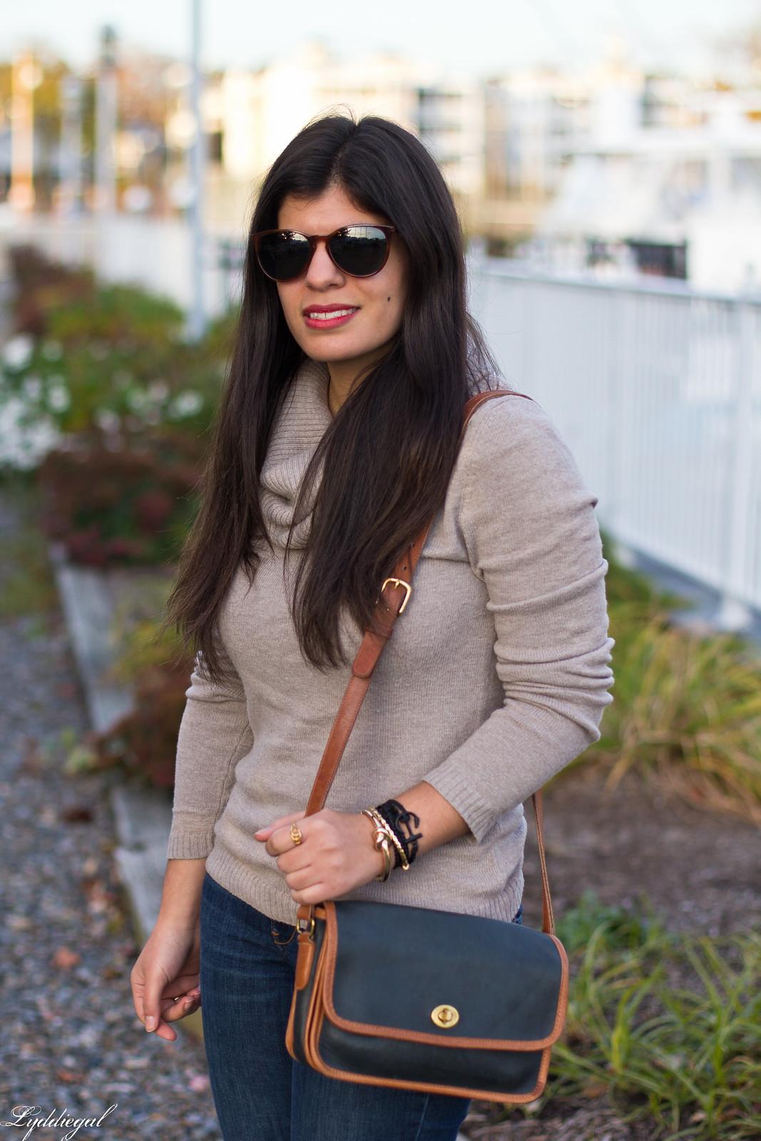 tan cowl neck sweater, brow bow ferragamo loafers, pura vida bracelet-7.jpg