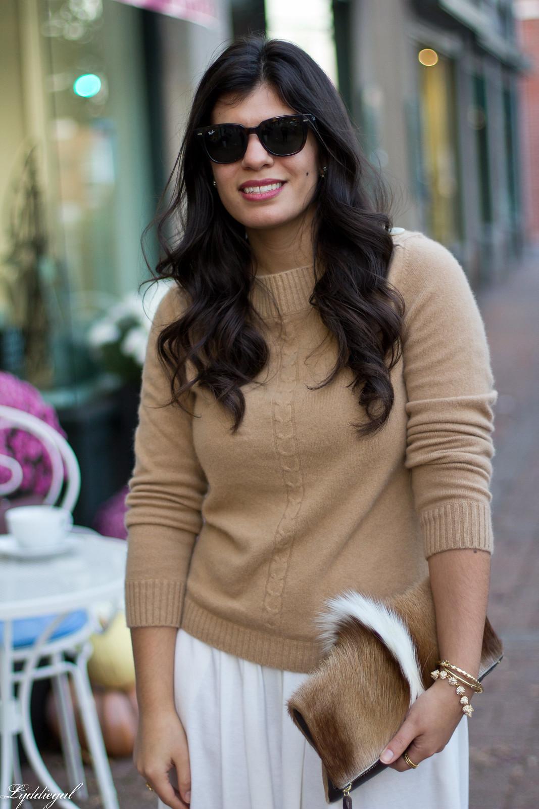 white Culottes, camel sweater, toe cap heels, springbok clutch-3.jpg