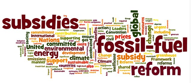 word poster calling for removal of fossil fuel subsidies