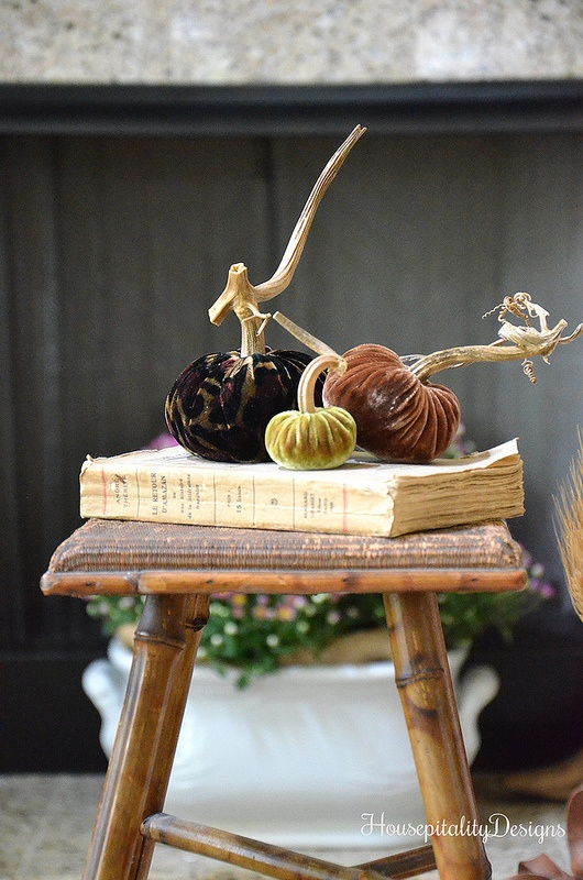 Velvet Pumpkins - Antique French Bamboo Stool - Housepitality Designs
