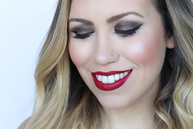 Plum and Brown Smoky Eye Berry Red Lipstick Makeup Tutorial Holiday Living After Midnite Beauty by Jackie Giardina