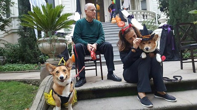 Greeting trick or treaters at the mansion with Sutter and Colusa Brown