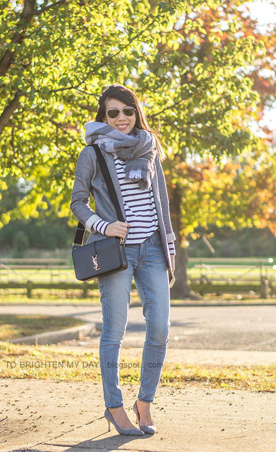 gray plaid oversized blanket scarf, striped turteneck, gray boyfriend blazer, lightwash skinny jeans, black crossbody bag, gray suede pumps