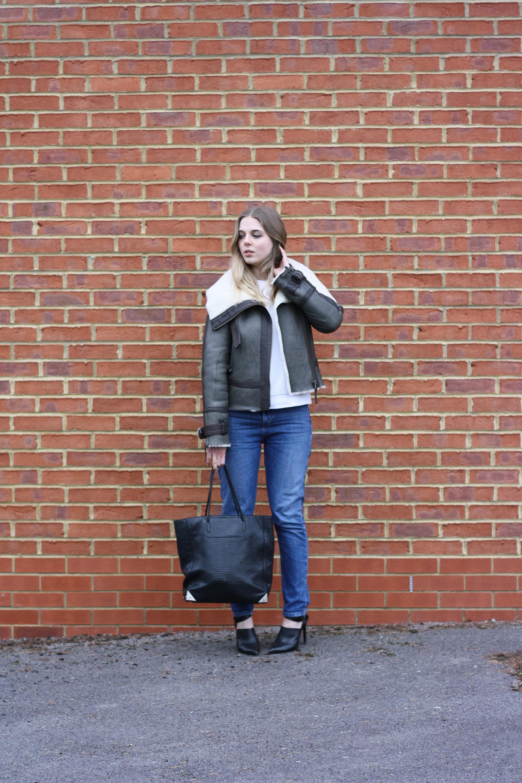 Alexander Wang Prisma black bag, Topshop Unique aviator coat and Whistles blue jeans
