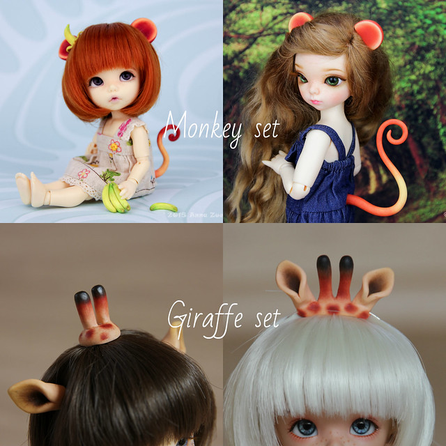 Monkey and Giraffe set