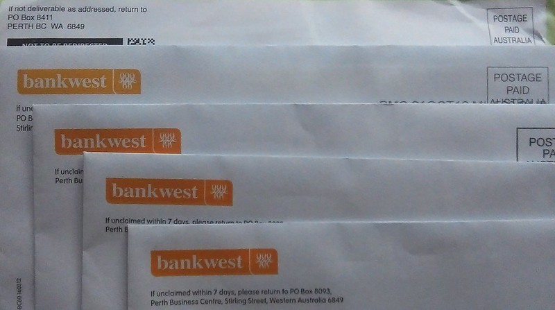 Letters from Bankwest, which all arrived on one day