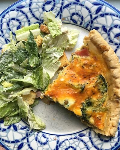 Ham Broccoli and Cheddar Quiche