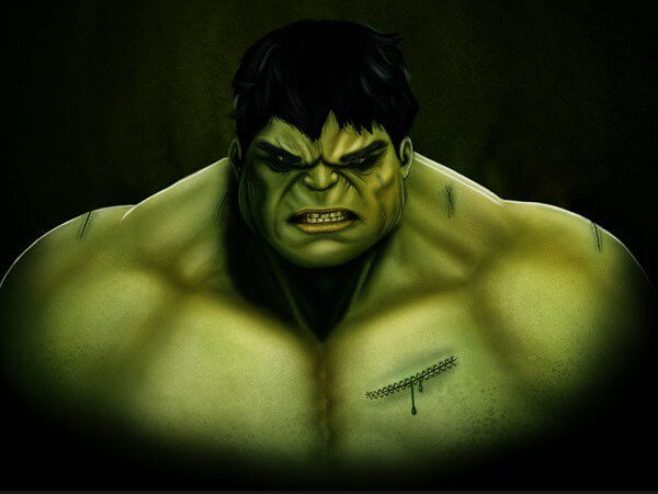 Create a gorgeous CG illustration of the incredible Hulk #1