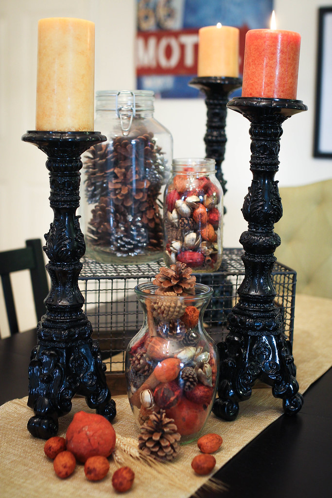 Candlesticks Pine Cones Potpourri Fall Thanksgiving Table Decor