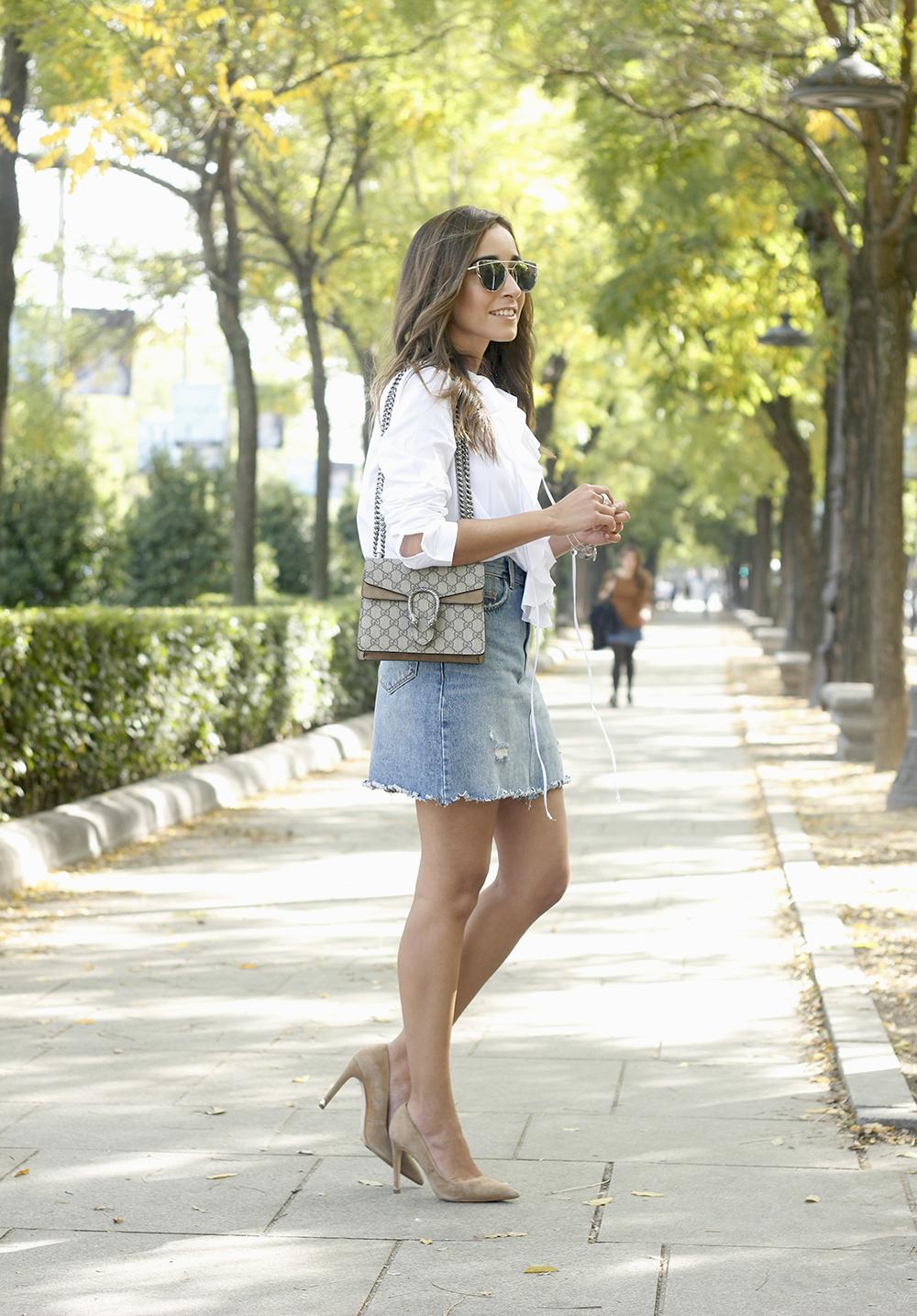 ruffled shirt uterqüe denim shirt sunnies heels gucci bag outfit fashion style02
