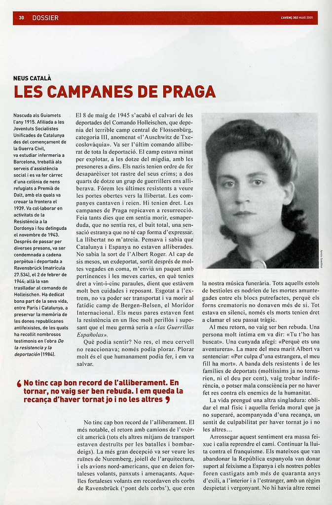 CATALÀ I PALLEJÀ, Neus. Les Campanes de Praga. A:  L'Avenç. Barcelona,  Maig 2005, núm. 302. Dossier Els camps nazis. 60 anys després. p. 30-31.