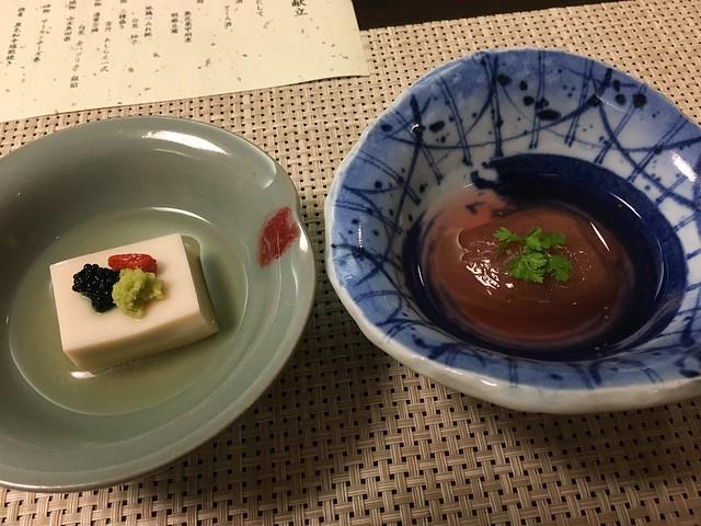 胡麻豆腐、無花果甲州煮