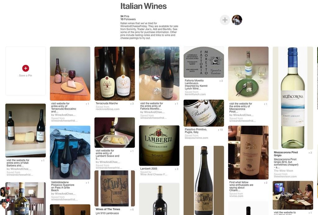 Screen Shot of Italian wine pinterest board