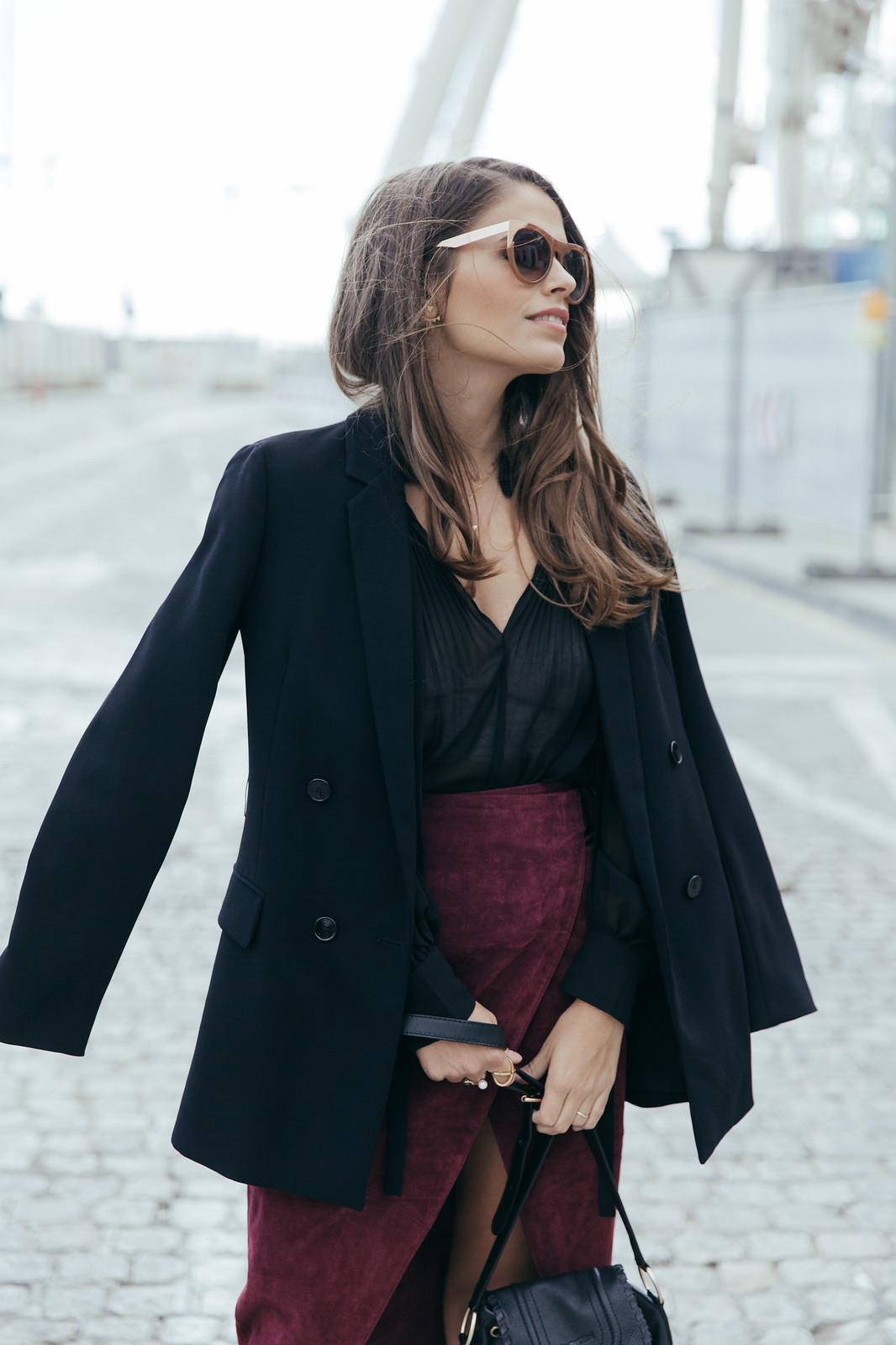 Jessie Chanes Seams for a desire - Burgundy Midi Skirt -6