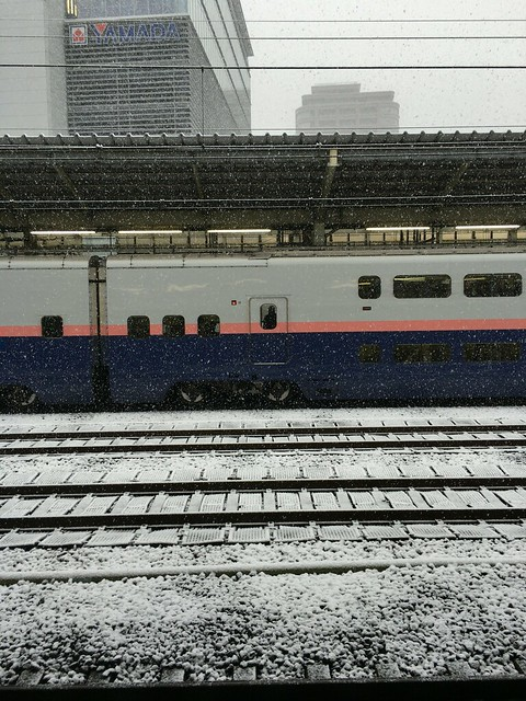 Takasaki Shinkansen platform snow